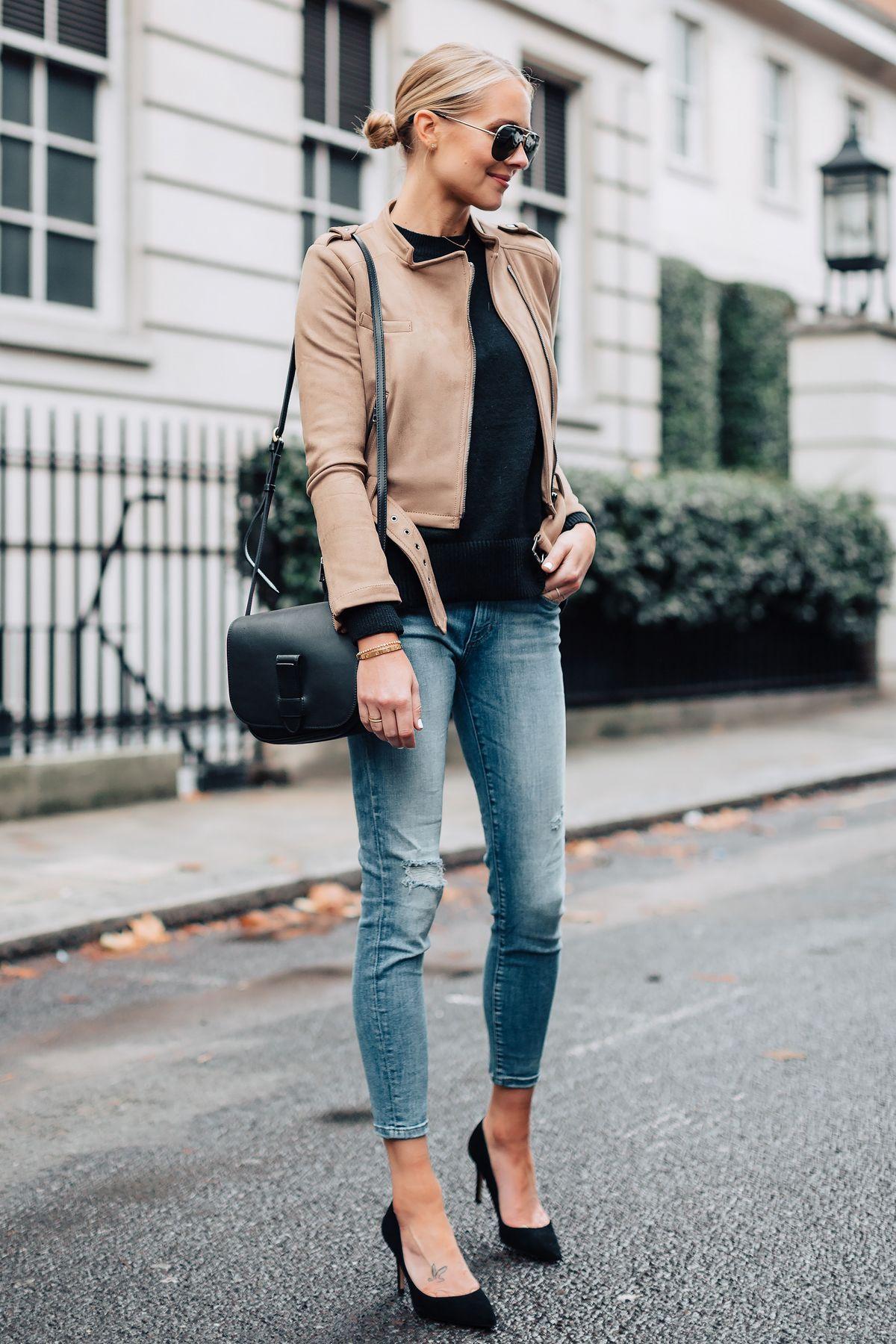 9b665848a17 Blonde Woman Wearing Tan Suede Moto Jacket Black Sweater Denim Skinny Jeans  Black Pumps Black Handbag Fashion Jackson San Diego Fashion Blogger London  ...