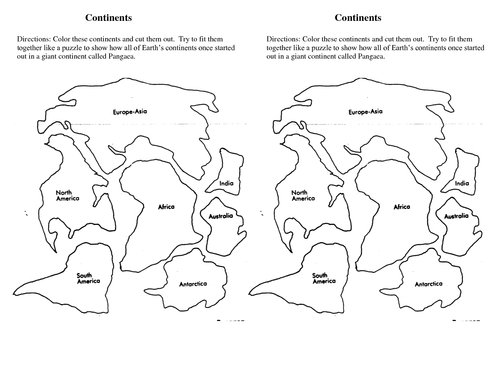 Continents of the world worksheets continents doc for Continents coloring page