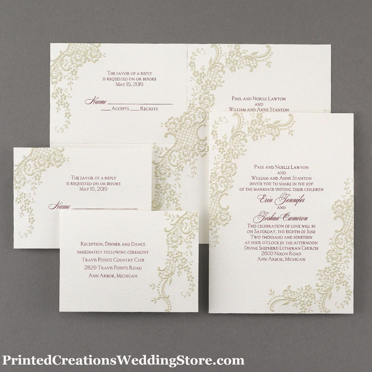 Pearly Lace Sep \'n Send Invitation - beautiful pearl embossed lace ...