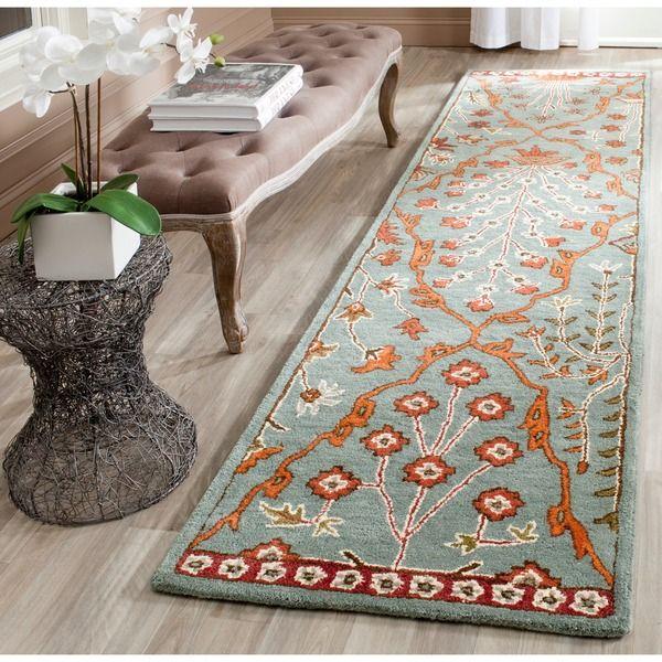 Safavieh Handmade Wyndham Blue/ Rust Wool Rug (2'3 x 11') - Overstock Shopping - Great Deals on Safavieh Runner Rugs
