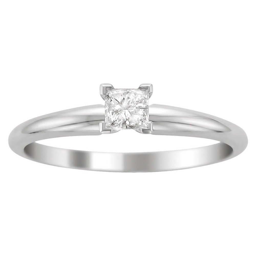cttw diamond solitaire ring in k white gold size