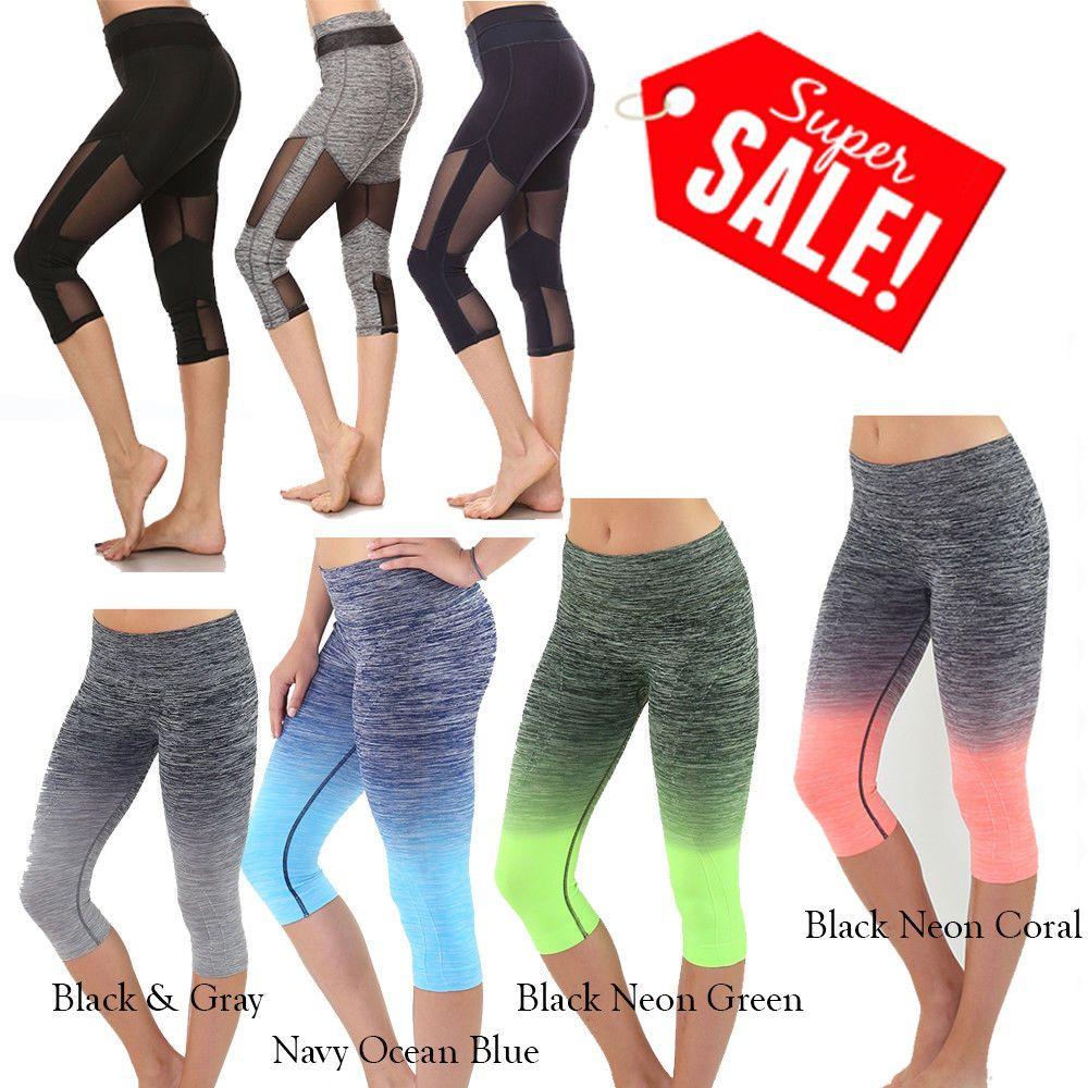 48e8c0f099 Women YOGA PANTS Capri Cropped Leggings for Gym Fitness Workout Wear Sizes  S M L