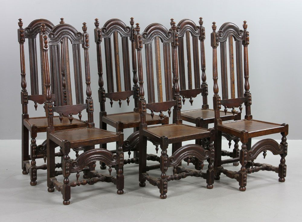 Charming 9056   Six 18th C. William U0026 Mary Oak Chairs January Estate Auction |  Official