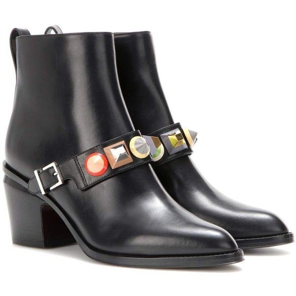 Fendi Embellished Leather Ankle Boots (6.315 NOK) ❤ liked on Polyvore featuring shoes, boots, ankle booties, black, leather bootie, black leather bootie, ankle boots, short leather boots and black leather booties