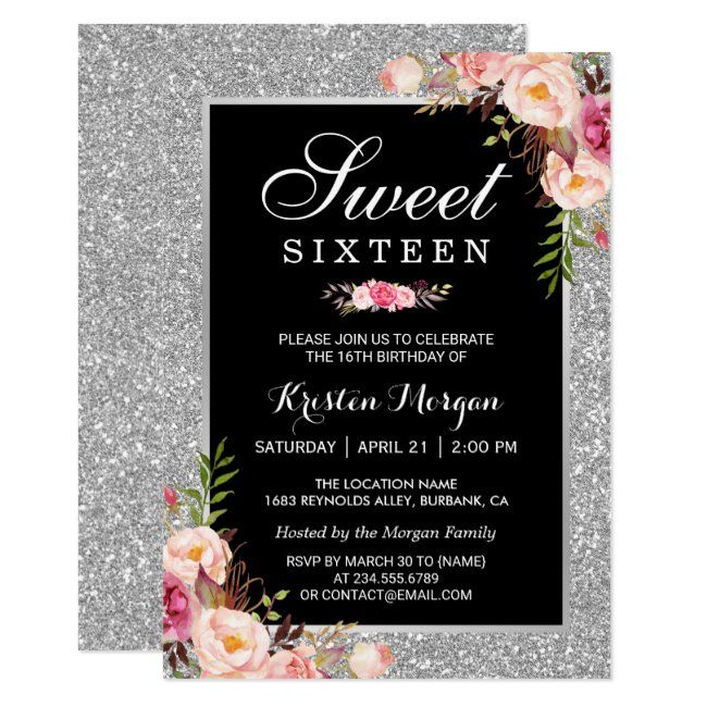 Sweet 16 Birthday  Pink Floral Silver Glitters Invitation #Sponsored , #sponsored, #Floral#Pink#Glitters#Silver