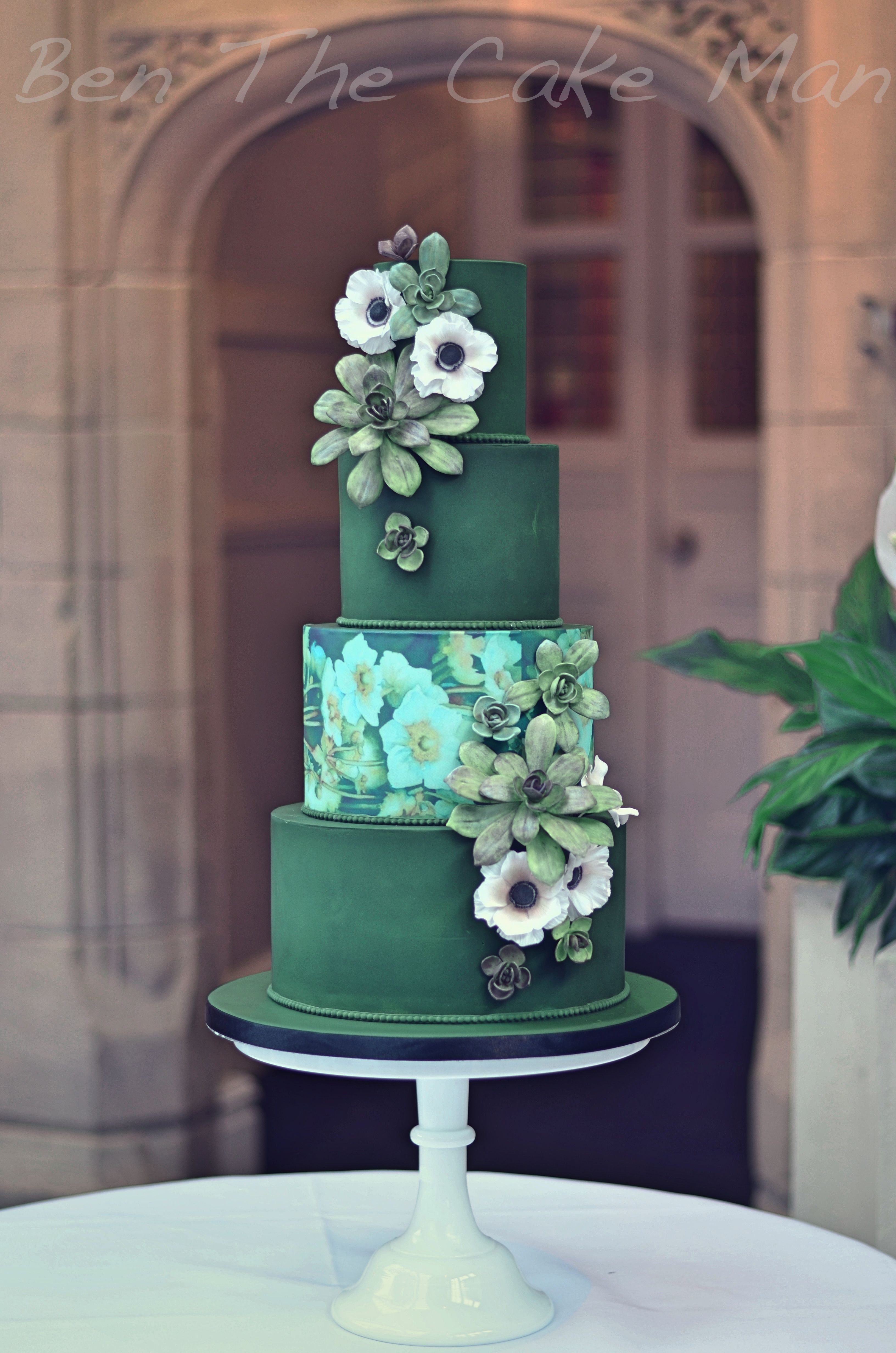 Green Watercolour Wedding Cake With Sugar Succulents And Anemones