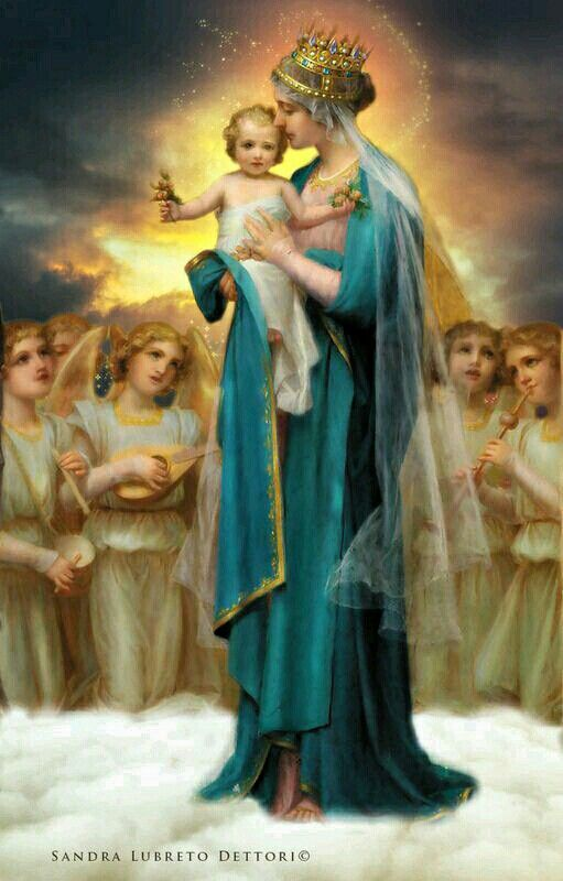 """Madonna of the Lilies 8.5x11/"""" Photo Print William-Adolphe Bouguereau Mom Child"""