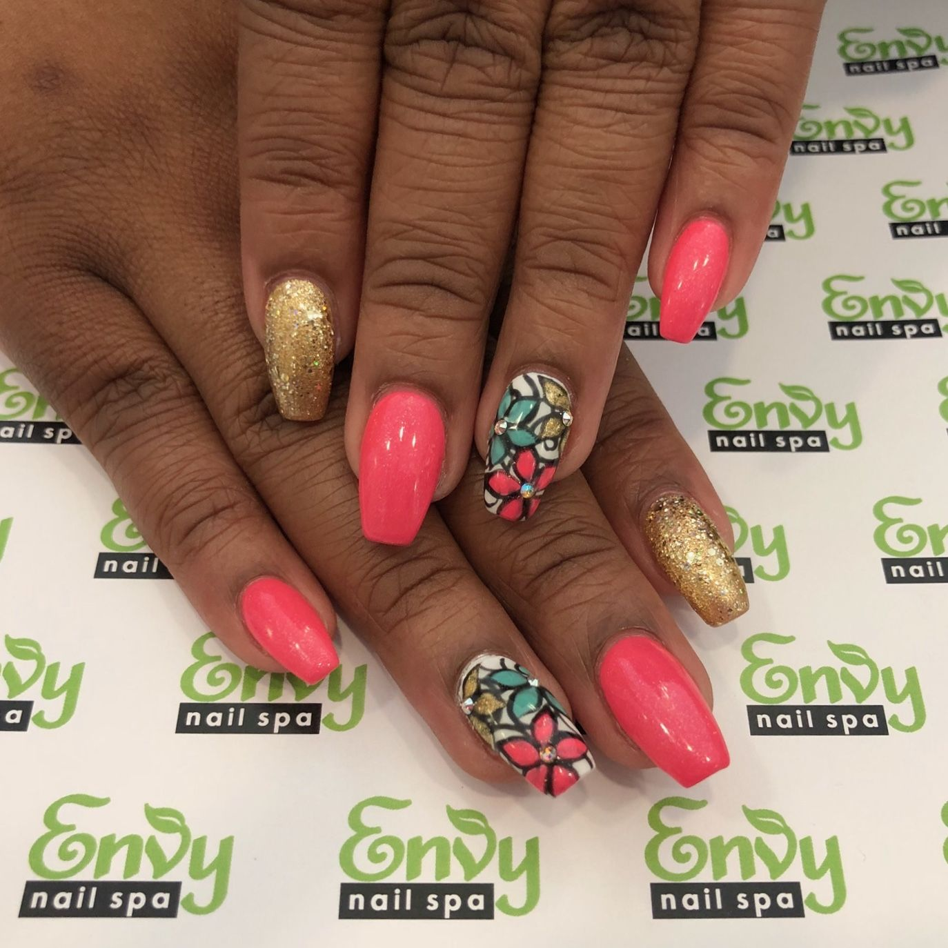Flower, Gold Glitter, Pink, Blue Nails - Envy Nail Spa | Flowers ...