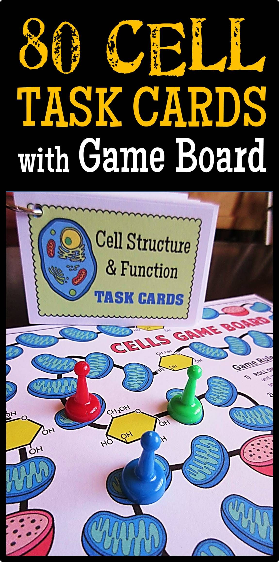 Cells Task Cards With Game Board 80 Cards With Editable