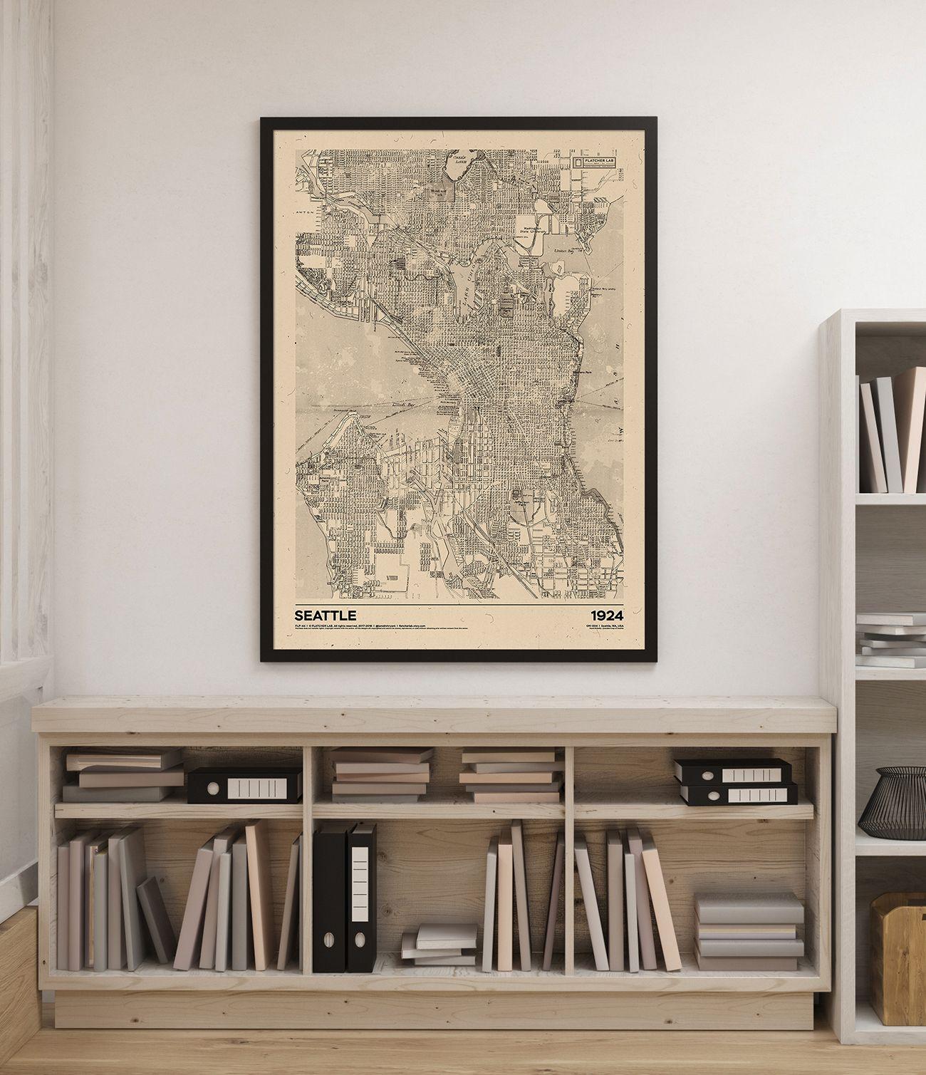 Seattle 1924 Old map Flatcher Lab