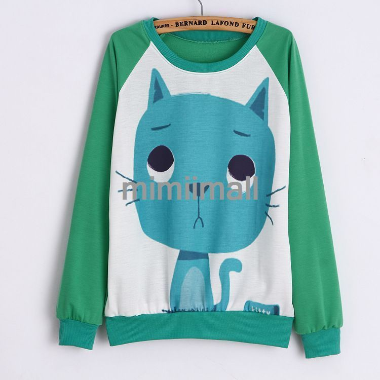 Korean Animal Print Long Sleeve O Neck Large Size Hoodies Women Sweater Tops | eBay
