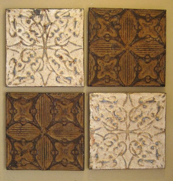 All 4 Antique Ceiling Tin Tiles Circa 1900 Rust Amp Dingy