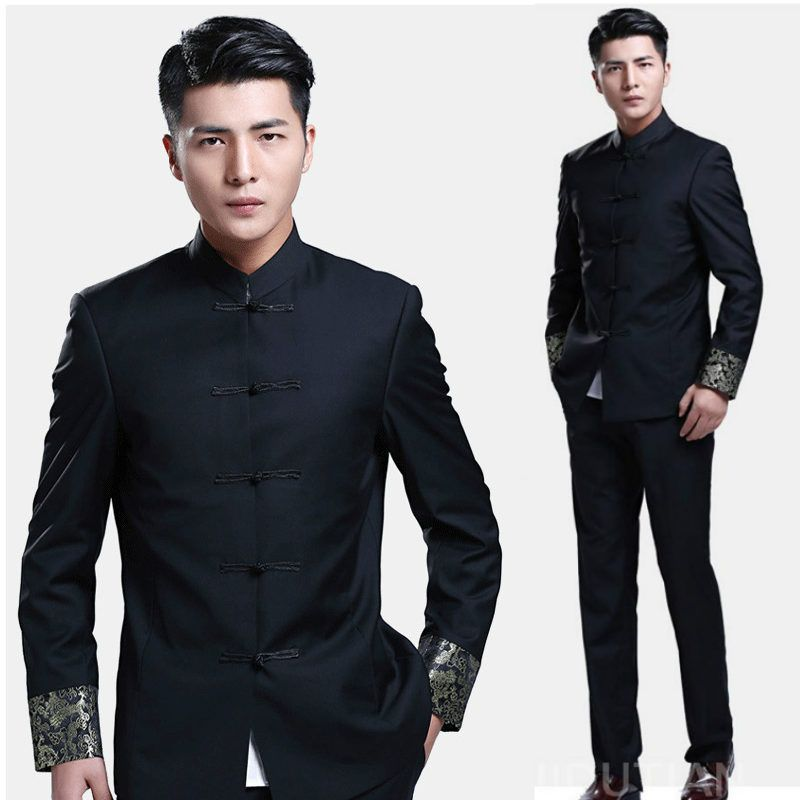 Mens Chinese Tang Suit Button Stand Collar Jacket Coats Blazers Black new Outwea