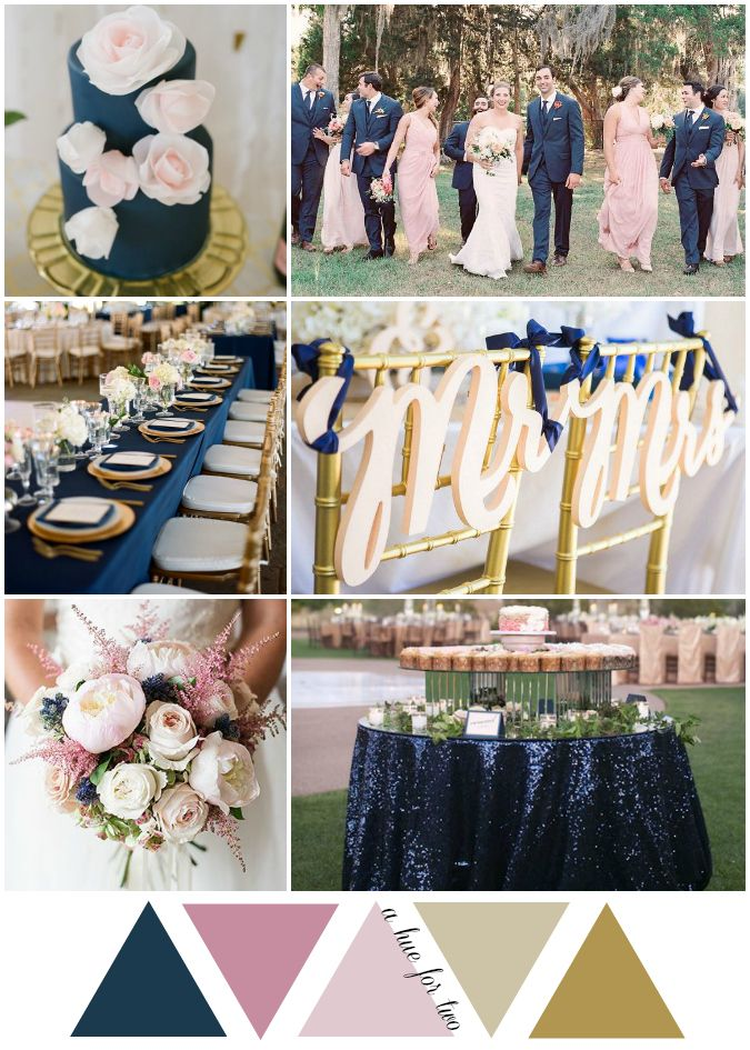 Navy Blush and Gold GardenInspired Wedding Color Scheme Wedding