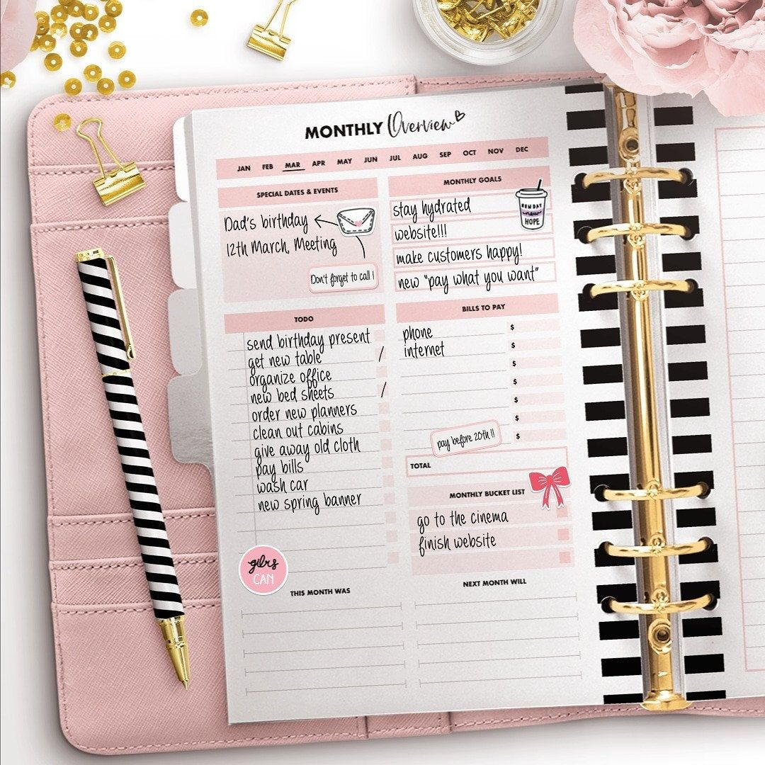 A5 Productivity Planner Etsy Printable planner