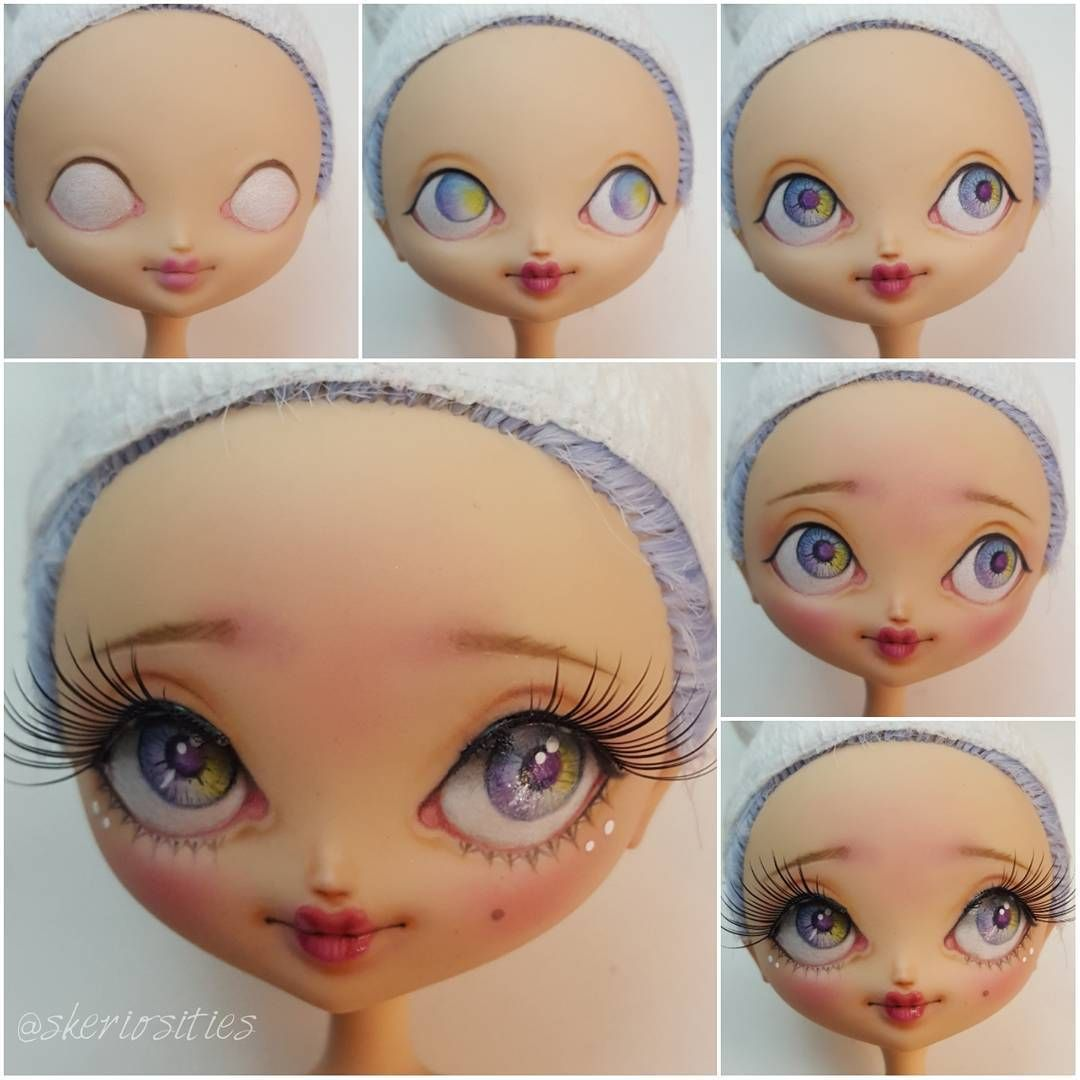 Today's work. My first custom #kuukuuharajuku doll. #ooakdoll #customdoll #skeriosities #dollfacepainting