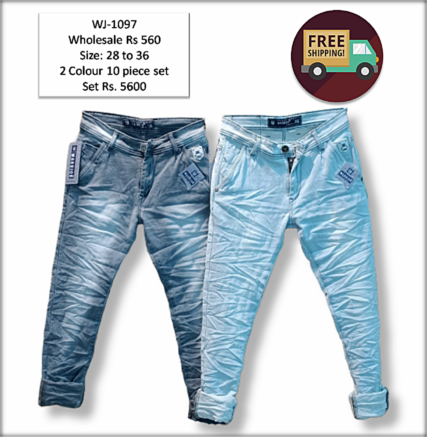 Men Wrinkle Jeans 2 Colours Set Wholesale B2b In