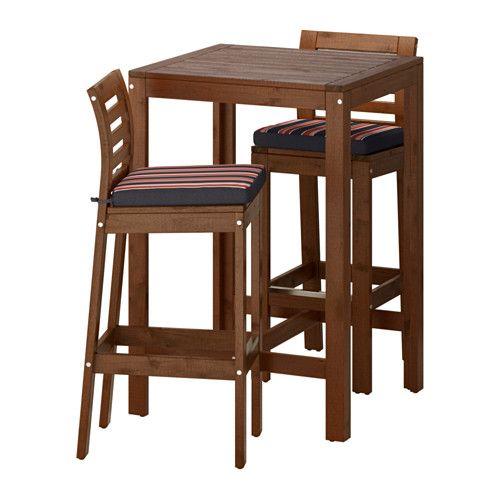 ÄPPLARÖ Bar table and 2 bar stools, brown stained, Ekerön black Äpplarö brown stained/Ekerön black