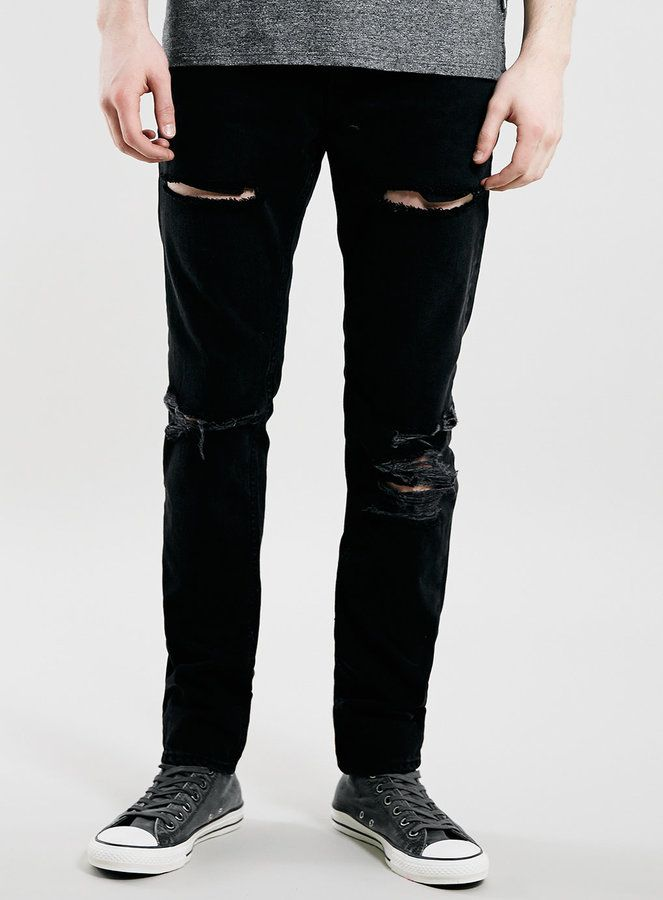 $80, Topman Black Blow Out Knee Classic Skinny Jeans