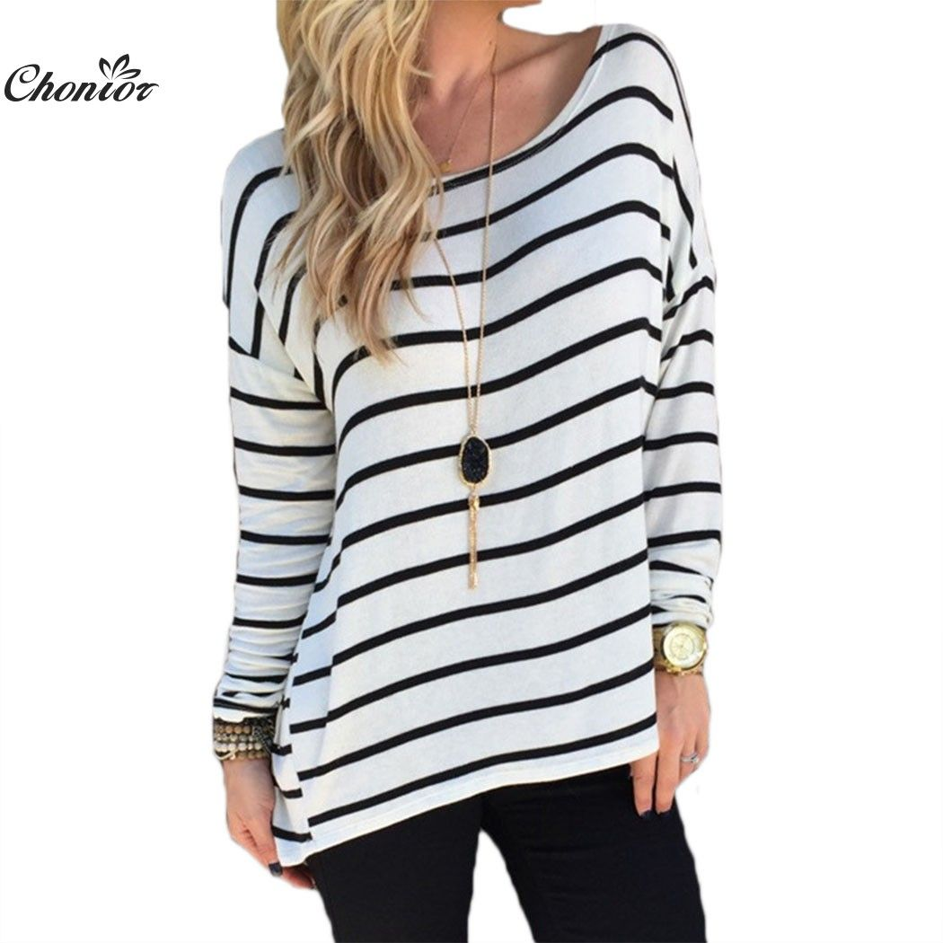 Black And White Striped T Shirt Women 2016 Autumn Long Sleeve ...