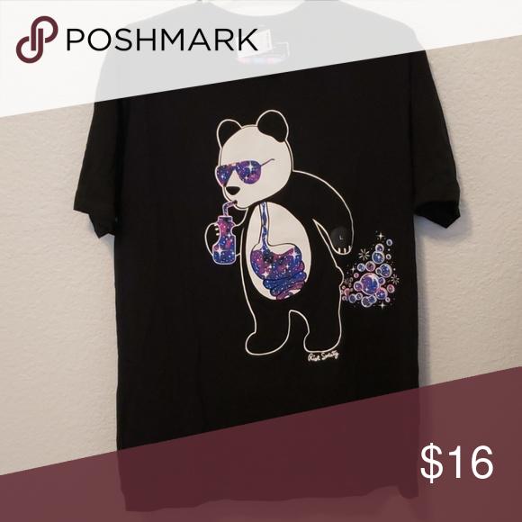 a18930b4017 Shirt Panda drinking with galaxy pattern riot society Shirts Tees - Short  Sleeve