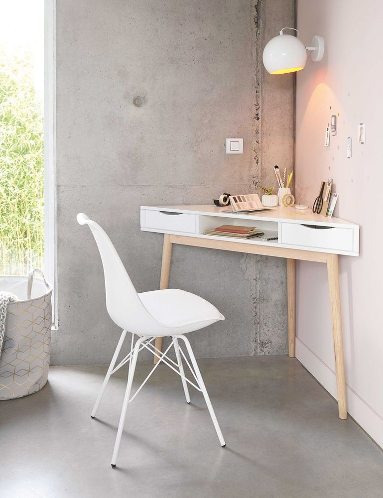 Small Space Tip Create An At Home Work Space With Corner Desks Maisons Du Monde White Desk Bedroom Desks For Small Spaces Home Office Design