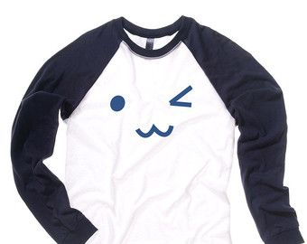 Cute Shirt kawaii Emoji t-shirt kawaii clothing cute long sleeve tee winking emoji japanese tee japanese baseball shirt cute gift unisex fit UY3u3E5dO