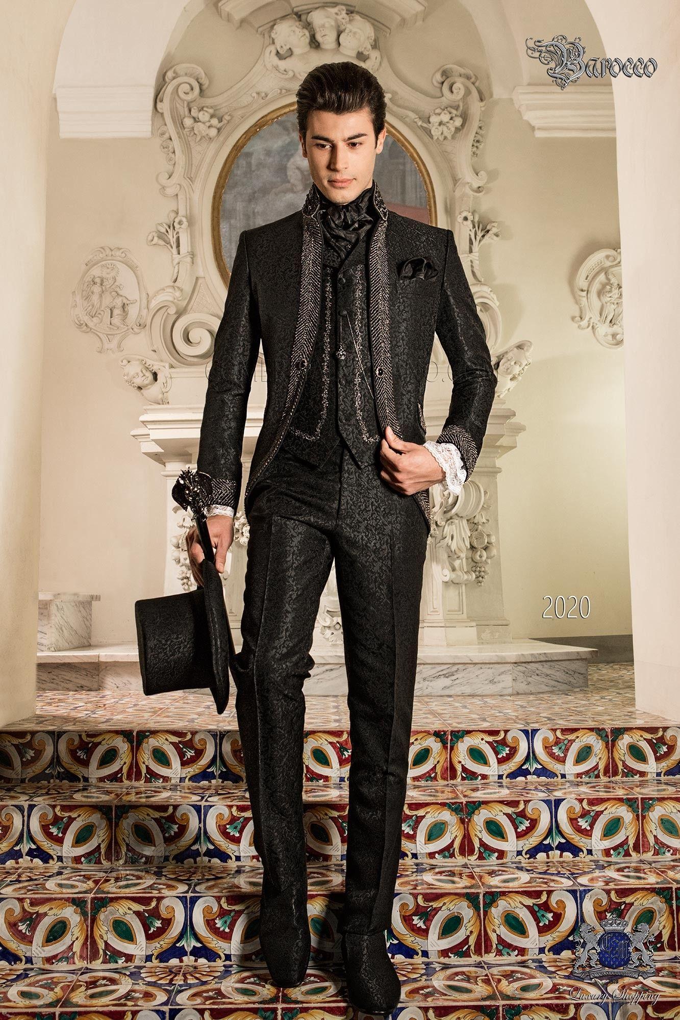 Barocke Hochzeitsanzug Vintage Gehrock In Schwarzem Brokat Stoff