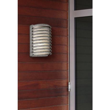 John Timberland Grid Silver 10 Quot High Outdoor Wall Light
