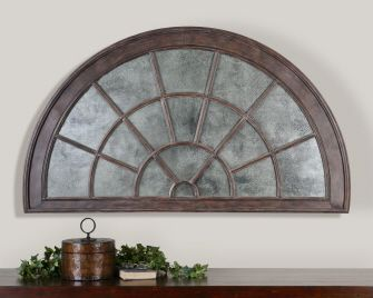 Half Circle Window Mirror Antiqued With A Wood Frame