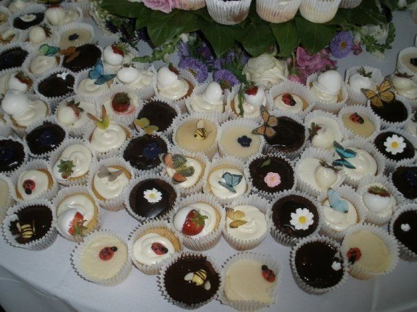 white cake, strawberry and chocolate cupcakes with detailing
