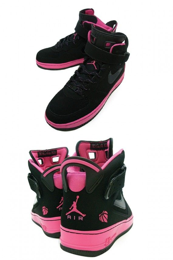 d07702d25bfe10 jordan ajf6 gs black pink 2 Air Jordan Force VI (AJF 6) GS Black Pink .