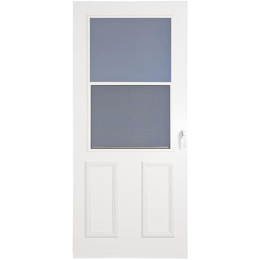21637 15501 Larson Villager White High View Wood Core Storm Door