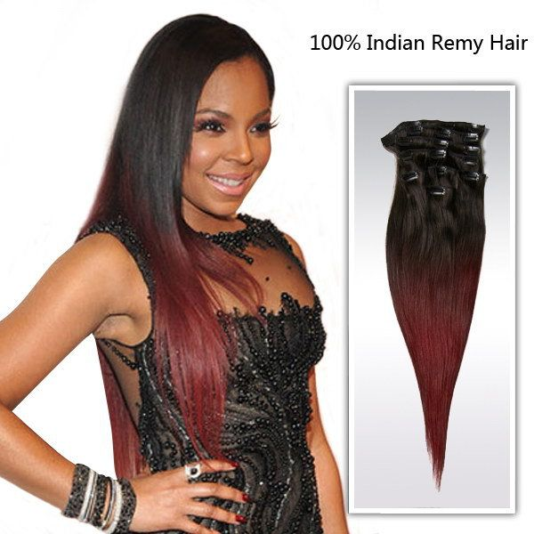 Fashion 18 Ombre Indian Human Straight Hair Clip In Remy Hair