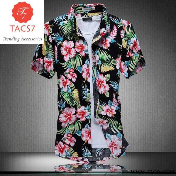 39d769502 Ahkuci 2017 New Men's Short Sleeve Hawaiian Shirt Summer Style Cotton Floral  Men Casual Beach Hawaii Shirts F M-5Xl Male Blouse