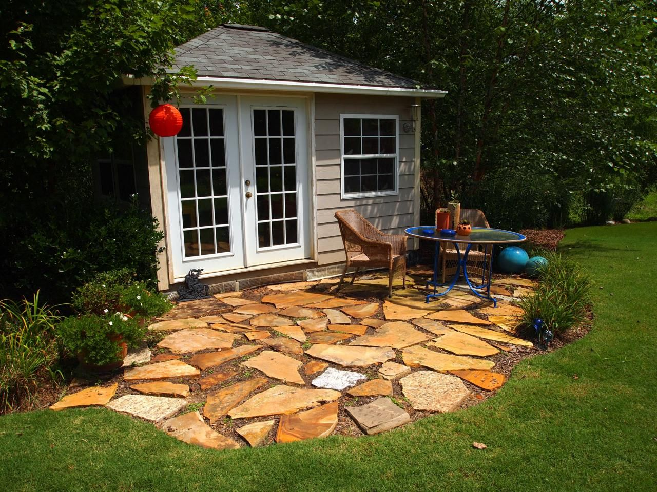 garden shed with paver patio