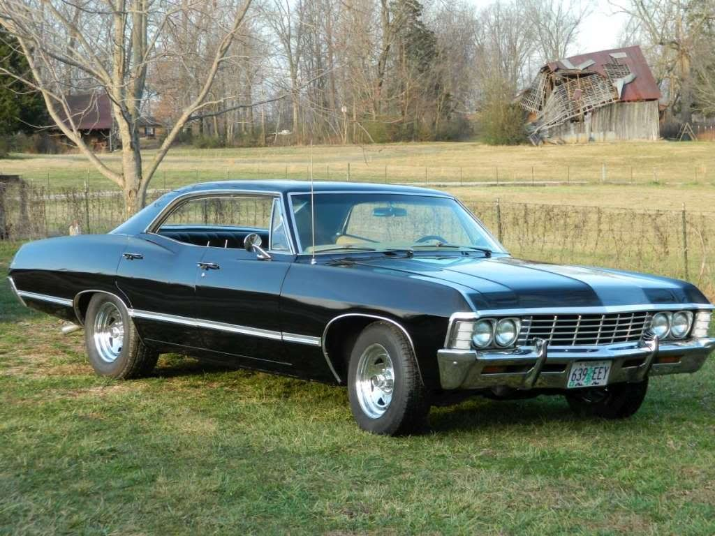 black 1967 Chevy Impala, 327, 4-barrel, V-8 engine, automatic, 4-dr,  Hardtop. #Supernatural