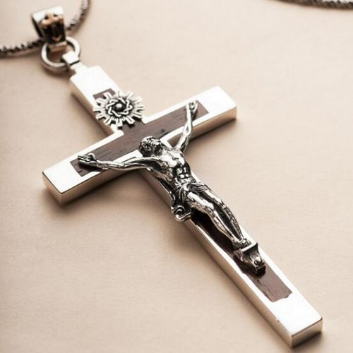 Mens sterling silver sandalwood jesus cross pendant necklace with mens sterling silver sandalwood jesus cross pendant necklace with sterling silver rope chain 18 mozeypictures Gallery