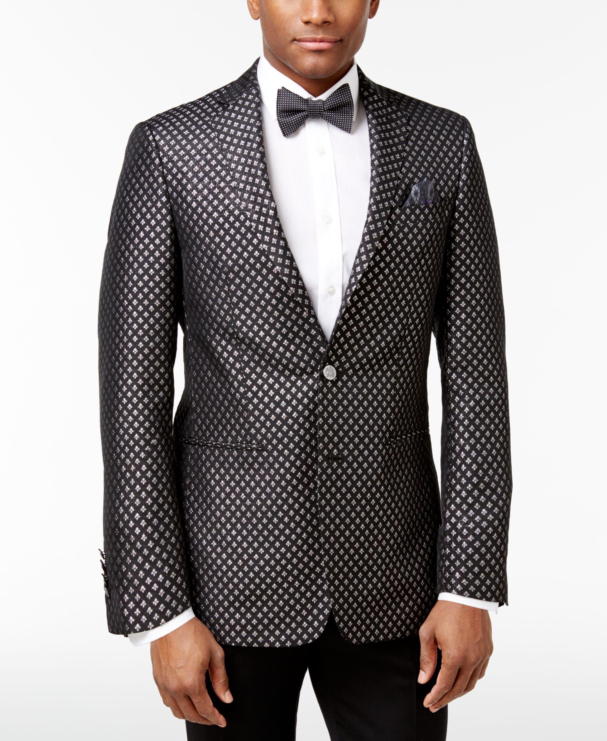 33e19642426 Tallia Men's Slim-Fit Black/Metallic Silver Diamond Dinner Jacket ...