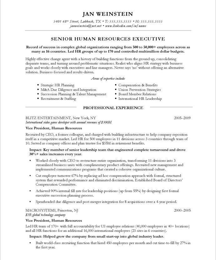 executive resume header