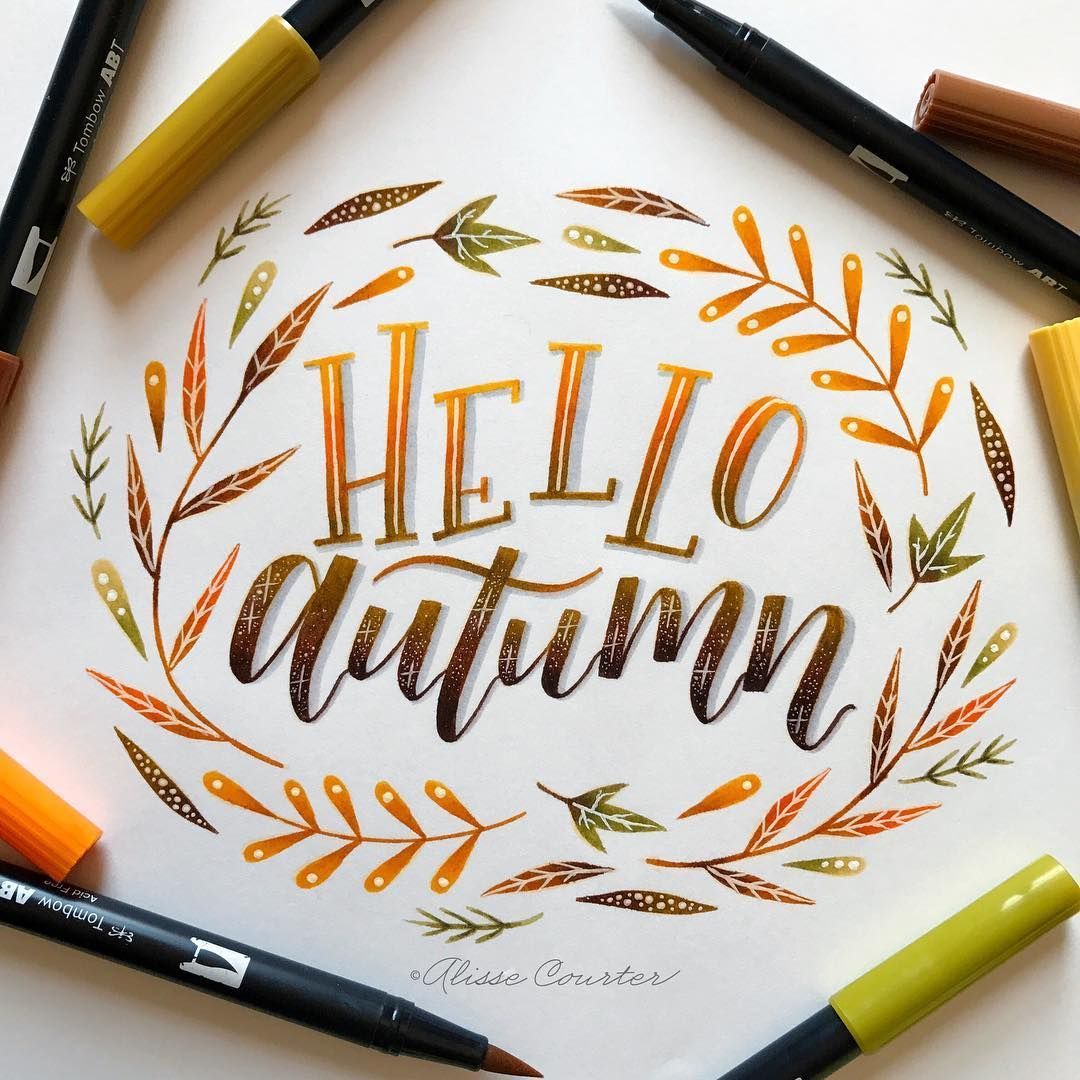 Hello Autumn Fall Hand Lettering Lettering Calligraphy
