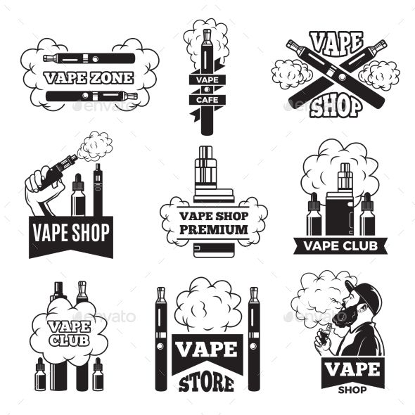Badges And Labels With Illustrations Of Vapor From Electric Cigarette Pictures For Vaping Club Or Shop Vaping And Electronic E C