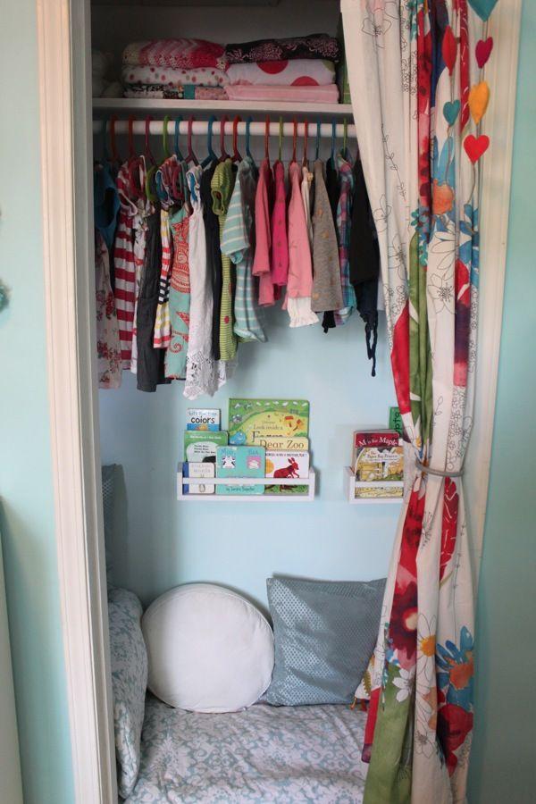 Nursery Closet Storage Space Turned Cozy Book Nook