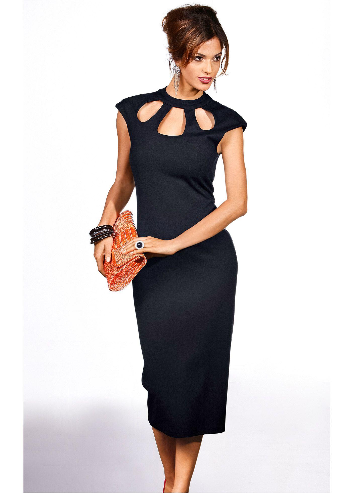 5a7b0f17b Vestido preto encomendar agora na loja on-line bonprix.de R$ 119,00 a  partir de Formato marcado feminino, supercharmoso! De jérsei mais  encorpado, com .