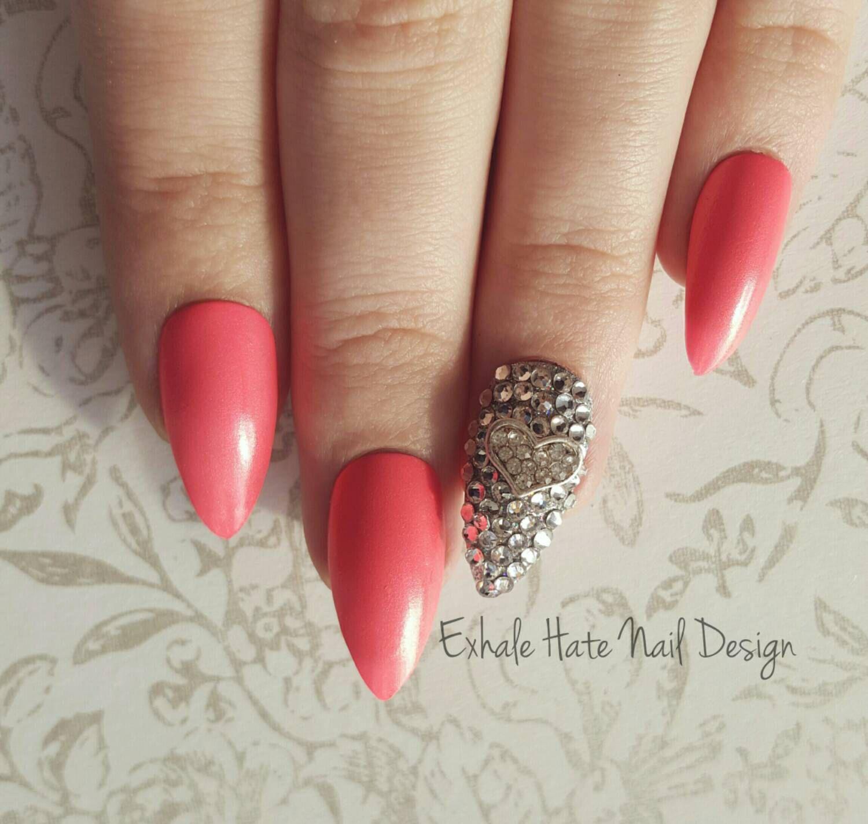Shimmery Pink Nails with Swarovski Crystal Heart Charm Kawaii Bling ...