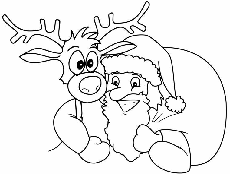 Renna Da Colorare Babbo Natale Con Sacco Disegno Di Natale