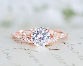 Rose Gold Engagement Ring Art Deco Ring Vintage Wedding Ring