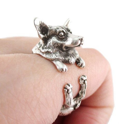 Animal Welsh Corgi Puppy Wrap Silver Cute Realistic Band Statement Ring in Antique Gold Plated Brass by wolfwolfdesigns on Etsy https://www.etsy.com/listing/260478028/animal-welsh-corgi-puppy-wrap-silver