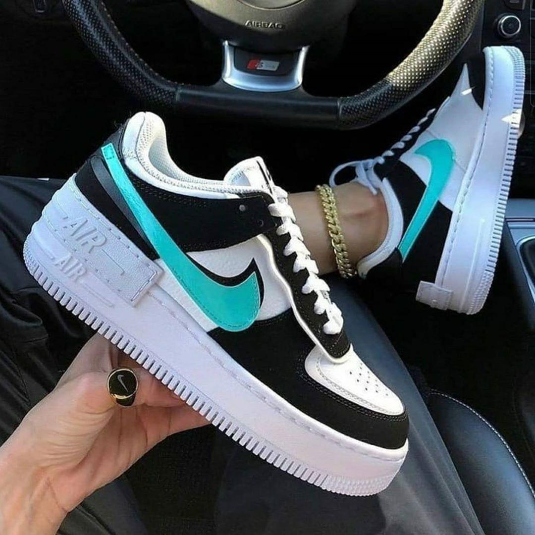 Women Nike Air Force 1 Shadow Black Blue white