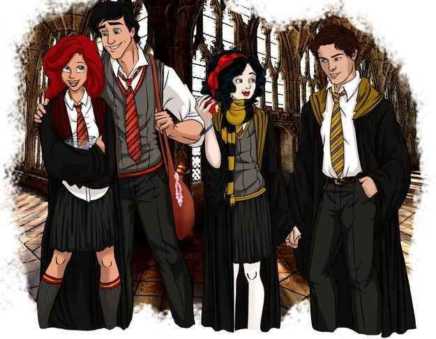 And Ariel Prince Eric Snow White And Prince Florian Disney Hogwarts Disney Characters Reimagined Harry Potter Disney